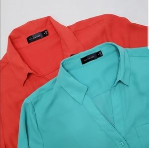 2 Button Down Blouse Shirts The Limited